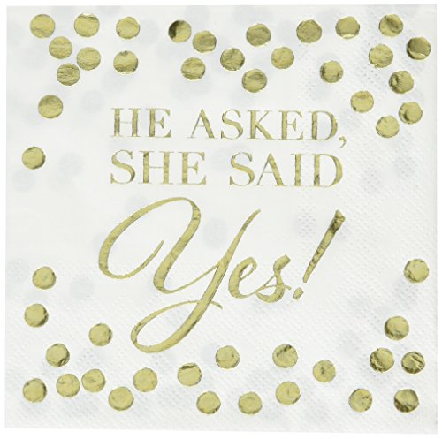 He Asked, She Said Yes Hot Stamped Beverage Napkins | Wedding and Engagement Party