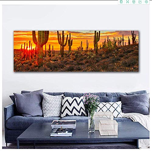 YaShengZhuangShi Canvas wall art no frame 30x90cm(11.8x35.4in) Sunset wall decor picture landscape for living room big size wall art