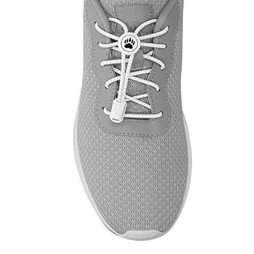 Bearformance Schnürsenkel mit Schnellverschluß Elastische Sportschnürsenkel - Schnellschnürsystem schleifenlos ohne binden für Kinder, Sport & Laufen (weiß)