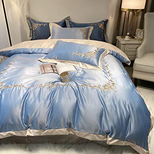 funda de edredón juvenil,La seda de hielo de la boda europea es un juego de camas individuales de la cama de seda bordado regalo de la cubierta de la cama roja grande-GRAMO_1.8m cama cuatro piezas