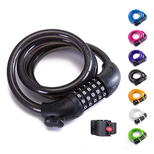 XZSUN Bike Lock Bicycle Lock Chain ,5-Digit Combination Lock Core Steel Wire Bike Lock Security&Portable Bicycle Locks,4 Feet x 1/2 inch (Black)