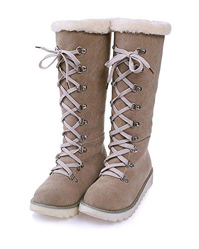 Minetom Damen Schneestiefel Winter Warm Plüsch Wildleder Schnüren Schneeschuhe Beiläufig rutschfest Lang Stiefel Flache Schuhe Boots Beige EU 37