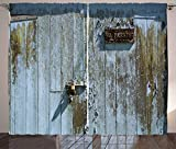 Ambesonne Industrial Curtains, Grungy Old Rotting Garage Door with No Parking Sign Rusty Aged, Living Room Bedroom Window Drapes 2 Panel Set, 108' X 84', Olive Green