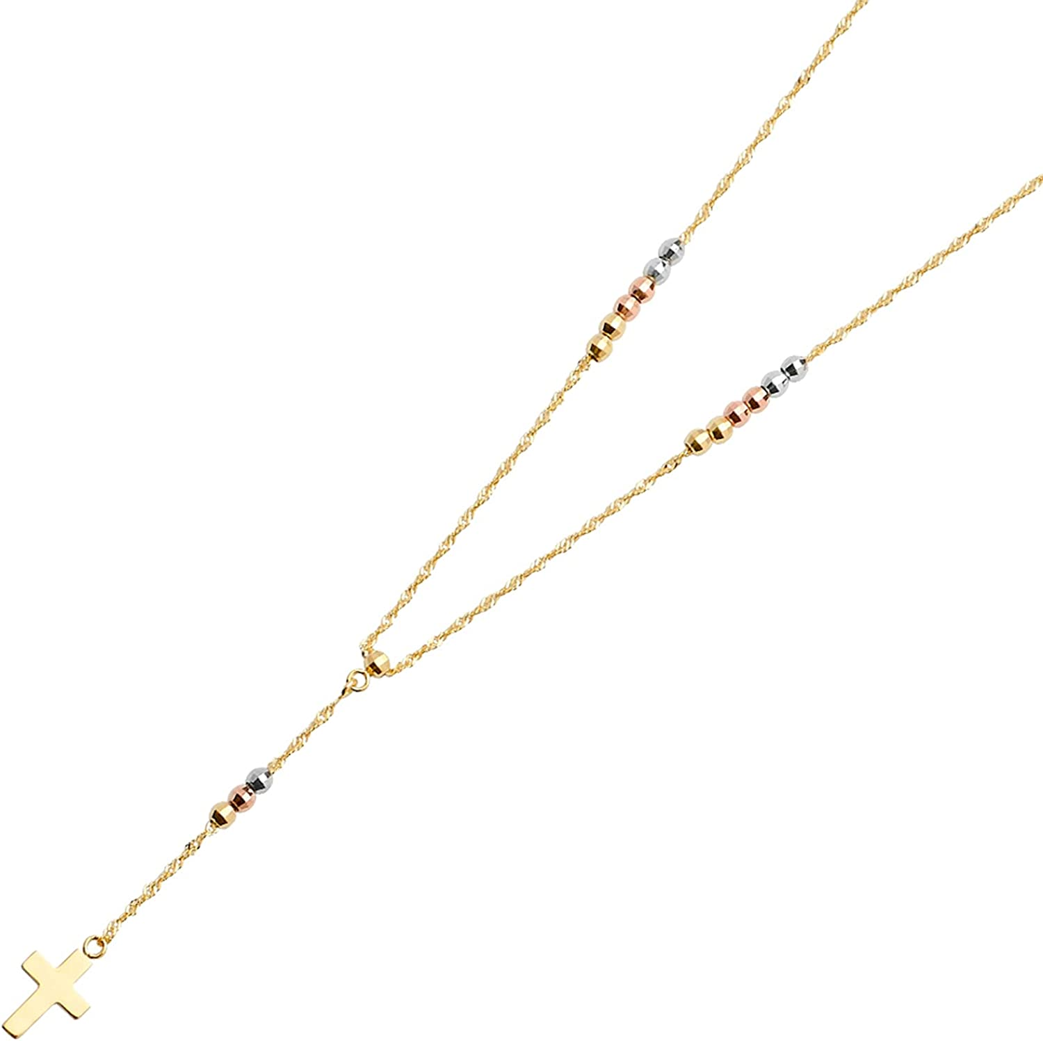 14K Gold Chain Necklace Tri Rapid rise Color Rosary Ball Beads excellence 2.5mm