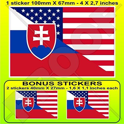 Autocollant de pare-chocs en vinyle avec drapeau américain et slovaque slovaque 100 mm