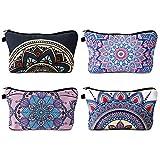 FANTESI - 4 bolsas de maquillaje de mandala, bolsas de viaje para cosméticos, bolsa de maquillaje, con patrones de flores de mandala, para mujeres y niñas