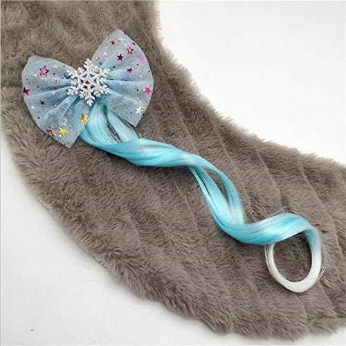 AOXQ Niños niña láser clip de pelo niña encaje copo de nieve niños clip de pelo extensión puntada fiesta baile tocado cola de caballo-5