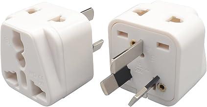 INIBUD Pack of 2 UK EU US to AU Australia NZ Double Socket Travel Adapter White Plug