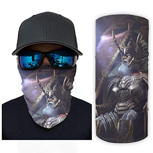 CCMugshop Bandana para la cara del año vikingo Odin guerrero con impresión mágica, cinta lavable, color blanco, talla única