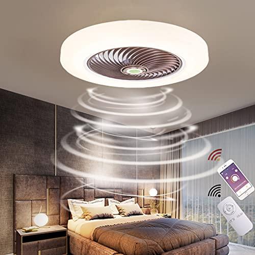 LANMOU LED Lámparas Ventilador de Techo Dormitorio con Mando Distancia, Moderno Ventilador Luz de Techo Regulable con 3 Temperatura de Color, 3 Velocidades y Temporizador Fan Silencioso, Ø52cm,Marrón