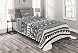 Lunarable Aztec Bedspread, Geometric Maori Pattern Borders Sharp Edged Arrows Triangles and Stripes Design, Decorative Quilted 2 Piece Coverlet Set with Pillow Sham, Twin Size, Black White