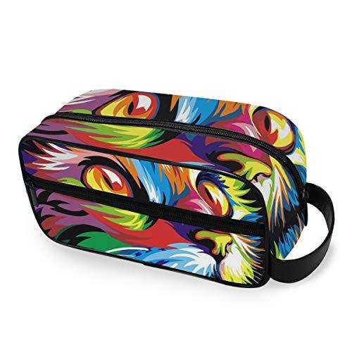 Outils de mode portable Cosmétique Train Case Curious Rainbow Cat Voyage Maquillage Sac Toilette Pochette De Stockage