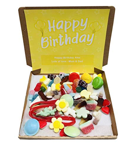 Happy Birthday Pick N Mix Retro Sweets Box Sweet Candy Hamper - 300g - Personalised Gift Message - Yellow