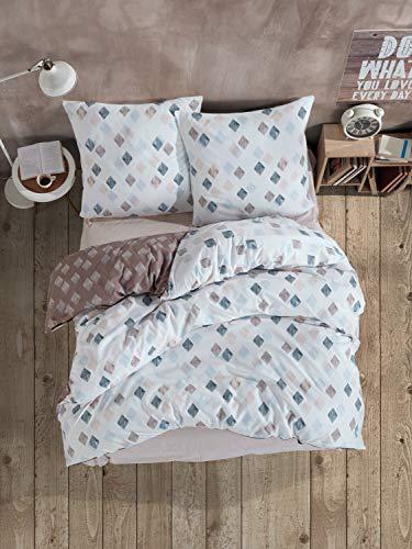 ZIRVEHOME Atlanta Bed Linen 155 x 220 cm 2-Piece Set White/Brown 100% Cotton / Renforcé Concealed Zip Breathable Reversible Duvet Cover with Pillowcase 80 x 80 cm
