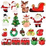 Fansport 18 PCS Christmas Miniature Figurines Mini Santa Clause Ornament Xmas Micro Landscape Christmas Tree Snowman Reindeer Gift for DIY Fairy Garden
