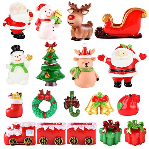 Fansport 18 PCS Christmas Miniature Figurines Mini Santa Clause Ornament Xmas Micro Landscape Christmas Tree Snowman Reindeer Gift for DIY Fairy Garden