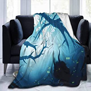 dsdsgog Flannel Blankets Home Cute Soft Mystic Decor,Animal with Burning Eyes in Dark Forest at Night Horror Halloween Illustration,Navy White,70