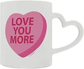 Valentine's Gift for Boyfriend Girlfriend Love You More Conversation Heart Heart Handle Gift Coffee Mug Tea Cup Heart