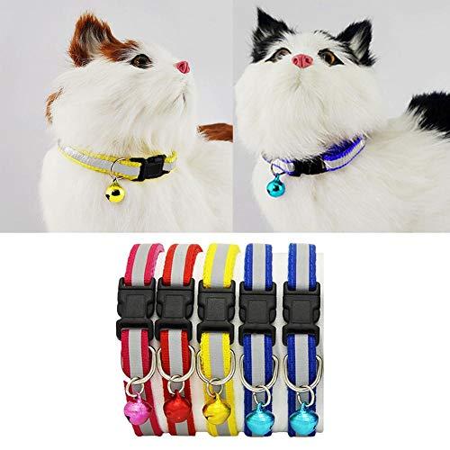 6 piezas ajustables para mascotas, gatos, perros, cachorros, collares reflectantes, hebilla de seguridad, campana, correa para el cuello suministros , collares para gatos, productos para mascotas