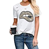 Bursted Top Vendido de Las Mujeres, Labios con Estampado de Leopardo, Camiseta de Manga Corta