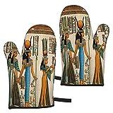 AEMAPE Guantes de Horno Afro Ancient Egyptian Queen 2 Guantes de microondas - Guantes de Horno Resistentes al Calor con asa Antideslizante para Colgar en la Parrilla para Hornear a la Parrilla