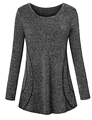 Yoga Tops for Women Loose Fit,Cucuchy Casual Workout Clothes Sporty Dri Fit Athletic Hiking Shirts Long Sleeve Adorable Running Tunic Airy Exercise Golf Pilates Clothing Black XXL