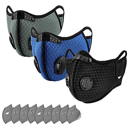 3 Pcs Maske Schutzmaske Multifunktionstuch 4-Lagen-Filter Mund und Nasenschutz Waschbar Staubschutzmaske Wiederverwendbar Atmungsaktiv Unisex Halstuch Mit 10 Aktivkohlefiltern