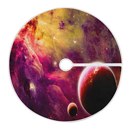 ALARGE Falda para árbol de Navidad, diseño de galaxia planeta, espacio de...