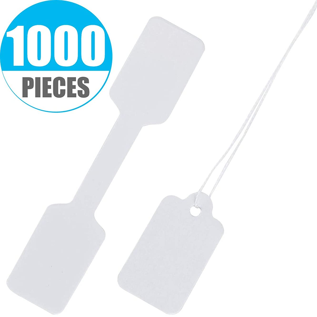 Onwon 1000 Pcs Price Labels,Necklace Ring Jewelry Writable Sticker Price Tags for Product Jewelry Clothing, White-500 Pieces Self Adhesive Price Labels and 500 Pieces String Marking Strung Tags.