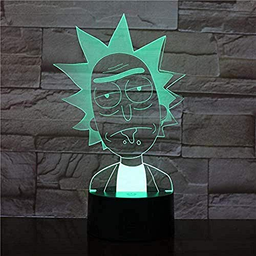 Niños s 3D Night Light Cartoon Rick Morty 3D Lámpara de mesa RGB Variable Mood Light Color Crack Pattern Base Cool Night Light Child Gift