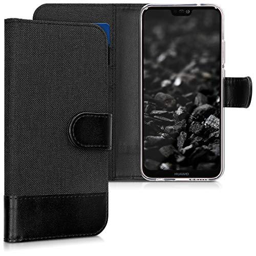 kwmobile Carcasa Compatible con Huawei P20 Lite - Funda de Tela y Cuero sintético Tarjetero Antracita/Negro