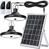 Upgraded Double Head Solar Pendant Light Motion Sensor JACKYLED IP65 Waterproof Outdoor LED Shed Light with Dimmable Remote Control 16.4Ft Cord for Patio Barn Chicken Coop Gazebo Garage, Cool White