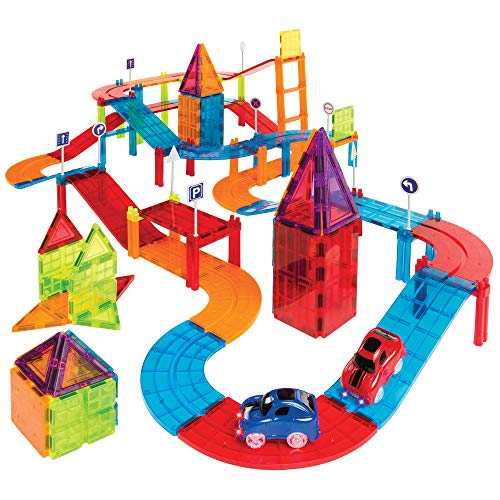 Best Choice Products 105-Piece Kids Magnetic Tile Car Race Track STEM Learning & Building Toy Set w/ 2 Light-Up Cars, Traffic Signs, Stickers