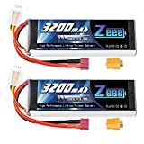 Zeee 11.1V Lipo Battery 3S 50C 3200mAh Soft Case Battery with Deans T and XT60 Connector for RC Airplane RC Helicopter RC Car RC Truck RC Boat UAV Drone FPV(2 Packs)