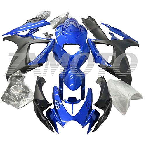 ZXMOTO Blue & Matt Black Fairing Kit for 2006 2007 Suzuki GSXR 600 GSXR 750 K6