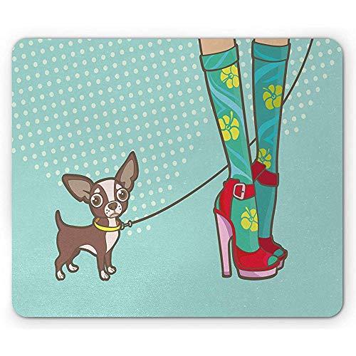 High Heels muismat, poten met grappige sokken en hoge hakken en Little Dog Doodle Girlish Print, rubberen muismat, multicolor