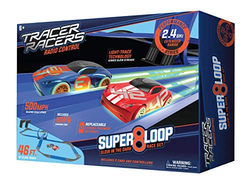 Tracer Racers Second Generation 2.4 GHz R/C High Speed Radio Control Super 8 Speedway Glow Track Set with Two Cars