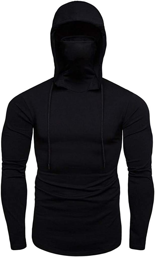 Mens Fashion Casual Workout Hoodies T Shirts Athletic Hooded Sun Protection Sweatshirt Pullover Long Sleeve Muscle Tops