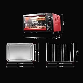 ZJJL Mini 12L Horno con ajuste de temperatura 0-230 ℃ y 0-60 Mins Timer, 1050W Horno tostador de puerta de doble acristalamiento Rojo