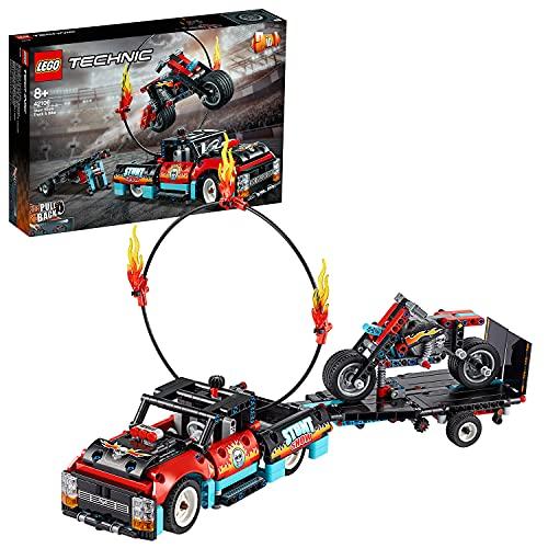 LEGO 42106 Technic Stunt-Show mit Truck und Motorrad Spielzeug für Kinder, 2-in-1 Modell, LKW mit Rückziehmotor und Anhänger