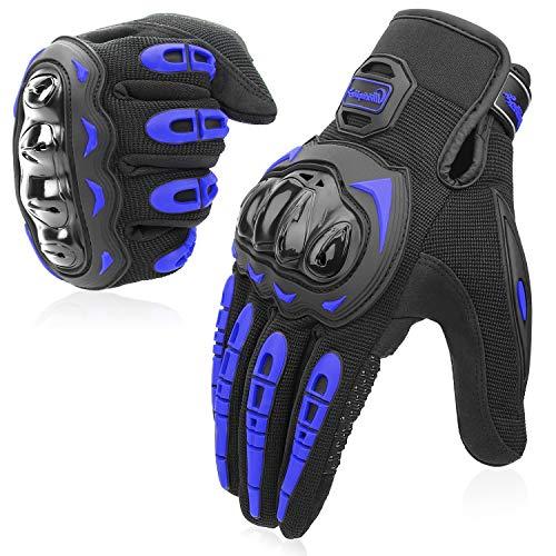 COFIT Motorrad Handschuhe, Touchscreen Motorradhandschuhe für Motorradrennen, Mountainbike, Motorcross, Klettern, Wandern und andere Outdoor Sportarten und Aktivitäten - Blau L