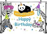 新しい動物園のテーマの誕生日の背景10x7ftビニール生地動物園パンダへようこそ小さな男の子のためのハッピーバースデー写真の背景