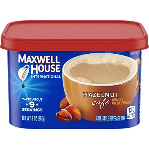 Maxwell House  Hazelnut Instant Coffee International Cafe (9oz Canisters, Pack of 4)