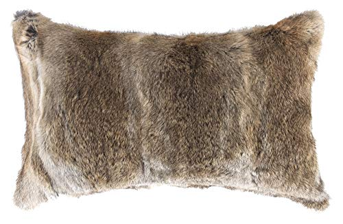 Natural Handcrafted Rabbit Fur Pillow with Polyfil Insert and Zipper Closure, Hazelnut, 12 in x 20 in