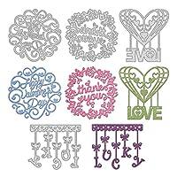 GLOBLELAND4個ハッピー誕生日花輪金属切削はスクラップブックのエンボス加工アルバム紙カード工芸祭の装飾、マットプラチナのための心と文字ステンシルテンプレートを死にます