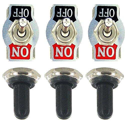 Mintice 3 X Interrupteur Inverseur à Bascule Levier en Métal ON/OFF 2 Terminal Pin SPST Poids Lourd 20A 125V 15A 250V bouton casquette Voiture Moto