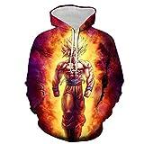 Sudaderas Hombre Chaqueta con Capucha Camiseta,Sudadera con Capucha Super Saiyan, Sudadera Dragonball Z Goku para Hombre / Mujer-Dragon Ball Flame Rojo_L