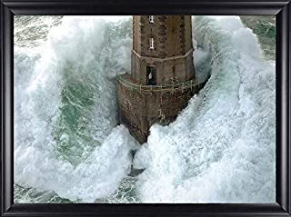 Picture Peddler Framed La Jument Phares Dans La Tempete Lighthouse Photograph by Jean Guichard Art Print Poster Famous Image Lighthouse Crashing Wave Man Standing Outside, 31.5x22.5 Finished Size