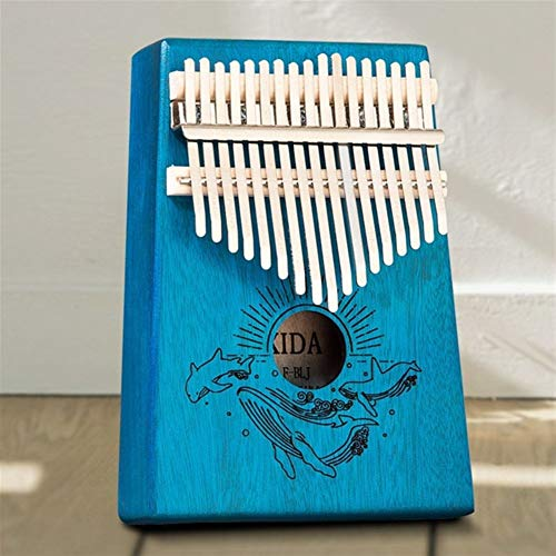 Kalimba, Daumenklavier 17 Tasten Kalimba Klavier Schön populäre Musikinstrumente Mahagoni Daumenklavier for Anfänger Gib 1 Satz Zubehör (Color : Blue)