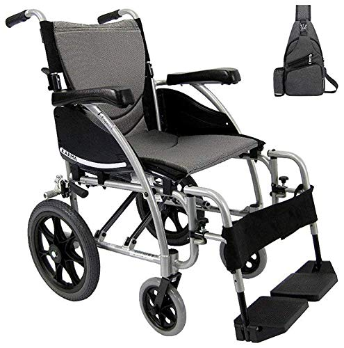 Karman S-115 Ergonomic Transport Wheelchair S-115F20SS-TP, Swing in & Away Footrests & Extending Push to Lock Manual Brakes 20' W X 17' D Seat Frame Color Silver & Free Medical Utility Black Bag!